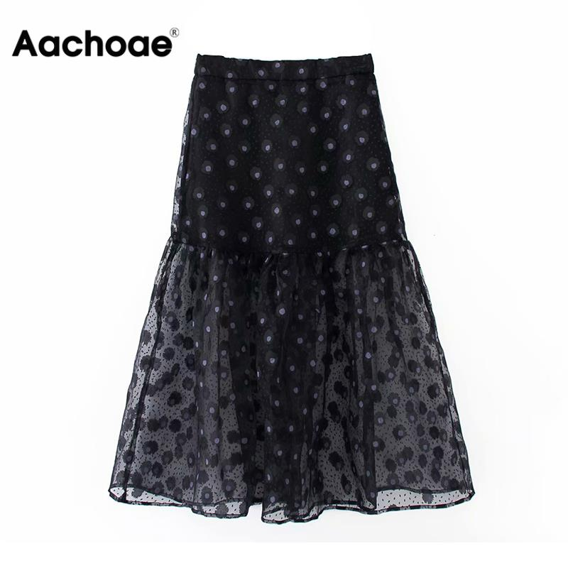 Aachoae 2020 Women Floral Print Sexy Mesh Organza Skirt Ladies High Waist Transparent Chic Ruffle Midi Skirts Faldas Mujer