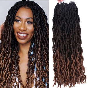 Crochet Hair Braids Faux-Locs Goddess Hair-Extensions Curly Soft Ombre Synthetic 18inch
