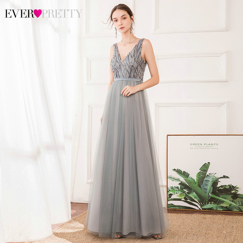 Sequined Grey Evening Dresses Ever Pretty EP00717GY A-Line Double V-Neck Sleeveless Tulle Elegant Party Gowns Vestido Longo 2020