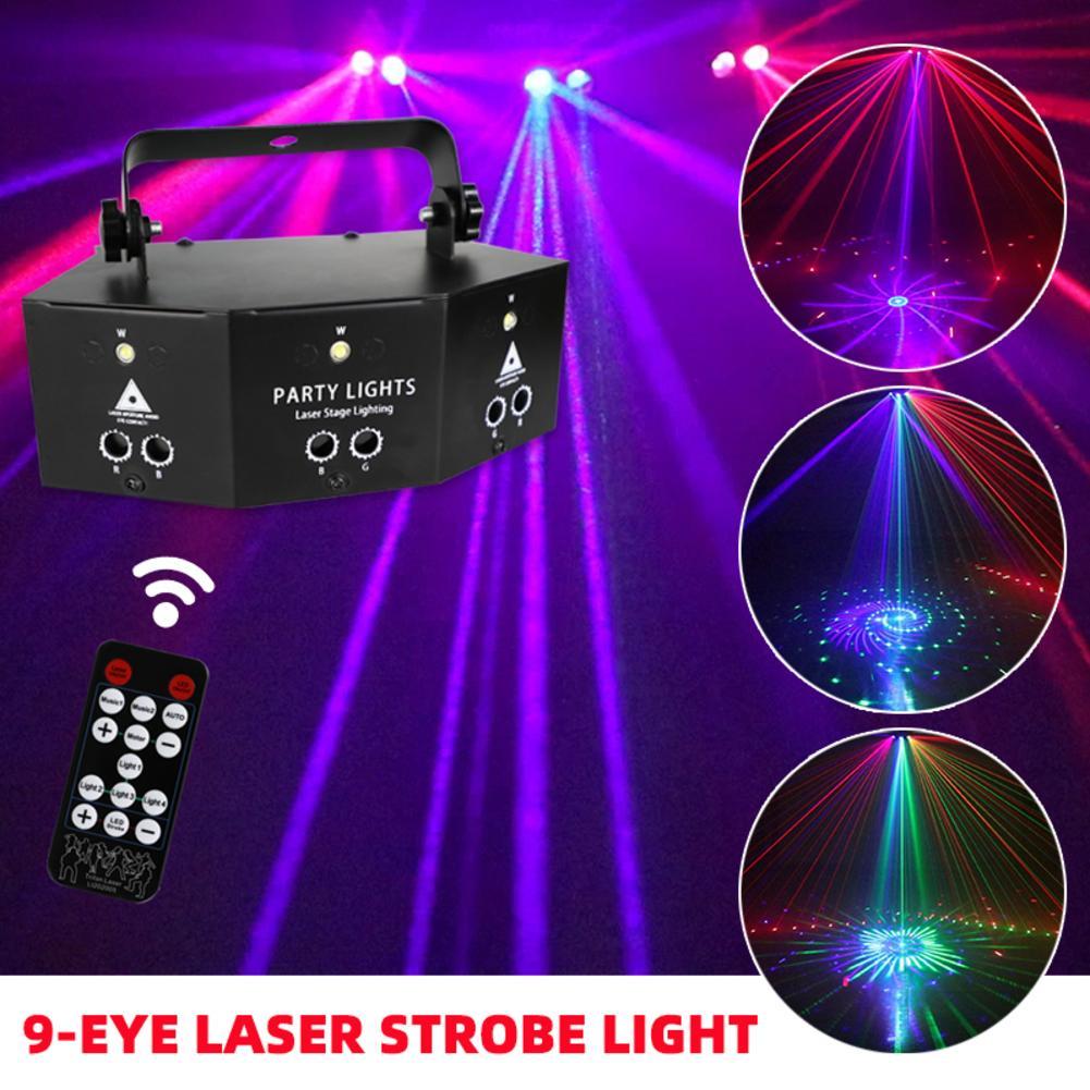 9-eye rgb disco dj lâmpada dmx controle remoto strobe luz de palco dia das bruxas natal barra festa led projetor a laser decoração da sua casa