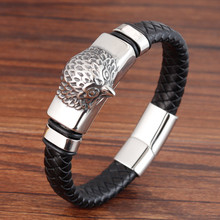 New Men Jewelry Punk Black Blue Braided Leather Bracelet for Stainless Steel Magnetic Clasp Fashion Bangles Gifts OWL
