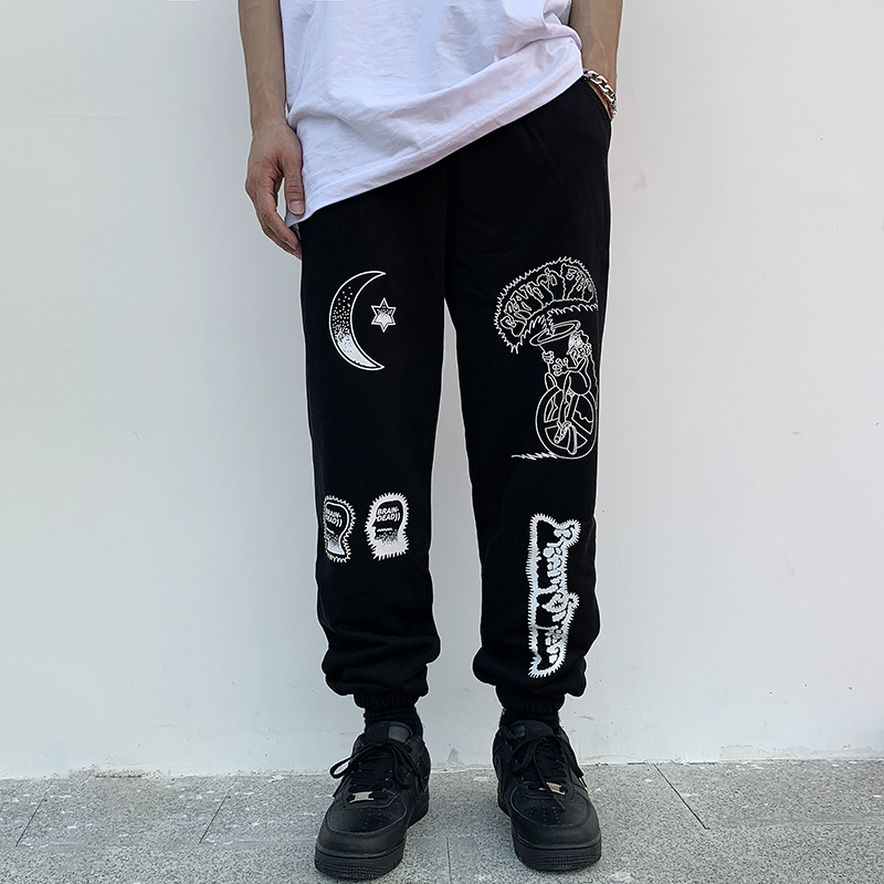 Kanye West Pants Brain Dead Gustavo Sweatpants Men Women Hip Hop Cotton Season 6   Hair Coil Pants Graffiti Print Trousers