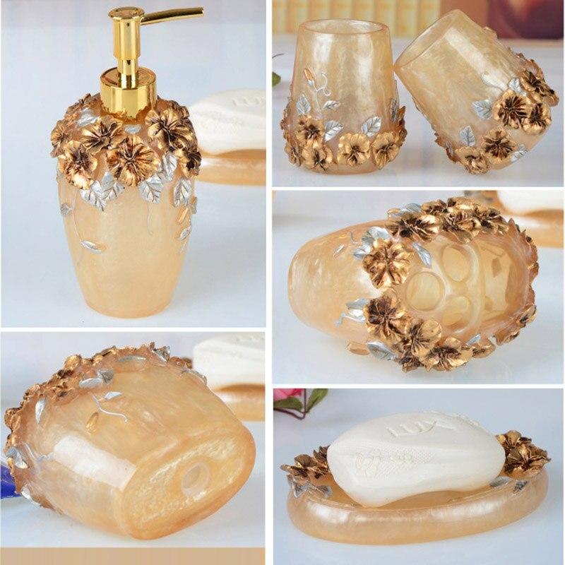 Ensembles d'accessoires de salle de bain 5 pièces résine salle de bain costume distributeur de savon/porte-brosse à dents/tasse/porte-savon produits de bain ensemble de lavage - 6