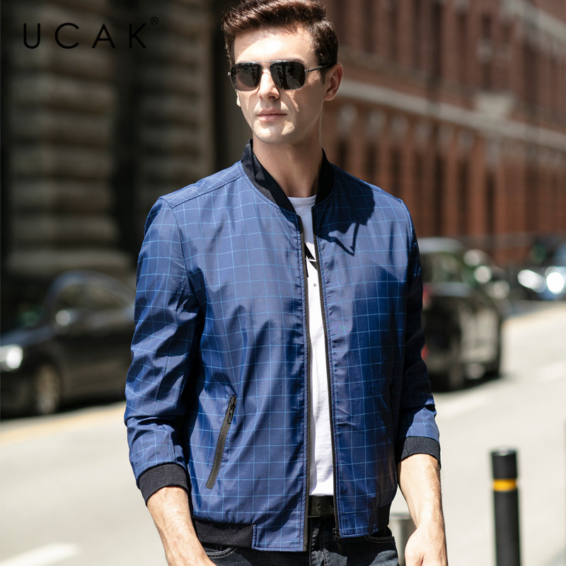 UCAK Brand Men Clothing Streetwear Clothes jacket Fashion Plaid Blouson Homme Casual Jacket Spring New Arrival Zipper Coat U8075