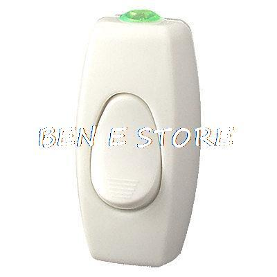 White Plastic Rocker Button Lamp Cord <font><b>Switch</b></font> AC <font><b>220V</b></font> <font><b>6A</b></font> 250VAC image