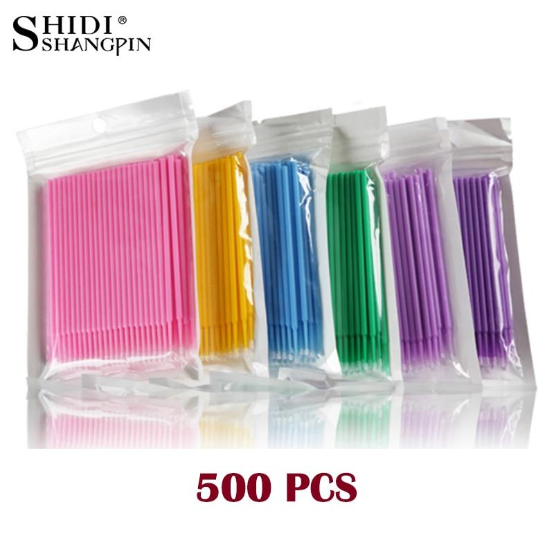 500pcs/lot Micro Brush Makeup Eyelash Extension Disposable Eye Lashes Glue Cleaning Brushes Free Applicator Sticks Make Up Tools