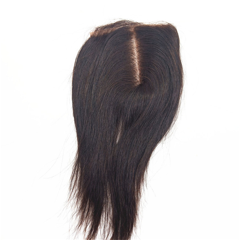 Straight Closure Human Hair 4x4 Lace Closure  With Baby Hair Middle Part