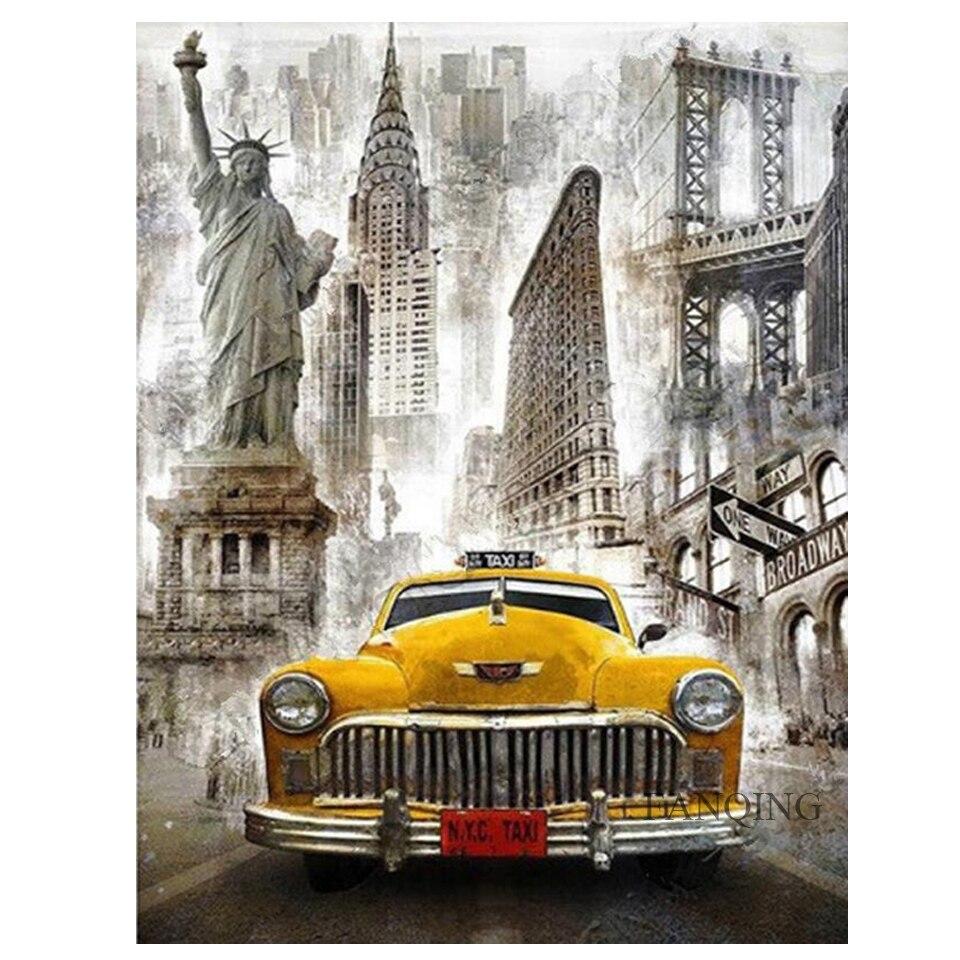 Diy 5d алмазная картина Нью-Йорка, автомобильная вышивка крестом, полная круглая квадратная Алмазная вышивка, домашнее художественное украше...