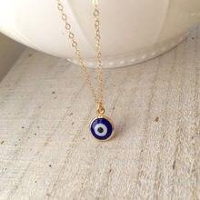 Ожерелье с голубым глазом, турецкое стекло ручной работы и позолота 18 карат