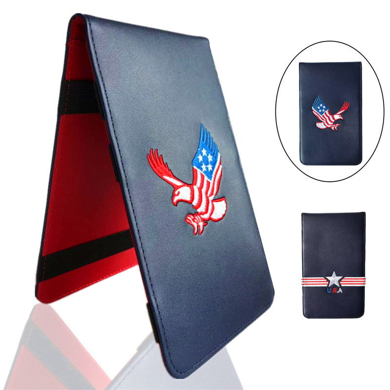 Finger Ten Cover Golf Scorecard Holder Wallet Scoring Pocketbook Score Card PU Leather Deluxe Stat Tracker USA Star 1 Pc Gifts