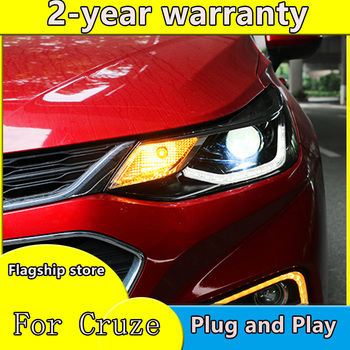Car Styling for Chevrolet Cruze led headlights 2017-2018 led drl+Dynamic turn signal HID double Bi-Xenon Lens low high beam