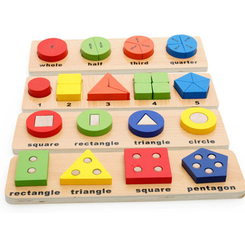 цена на Montessori Wooden Children Geometric Shape Matching Set Building Blocks Develop Intelligence Baby Early Education Toys Gifts
