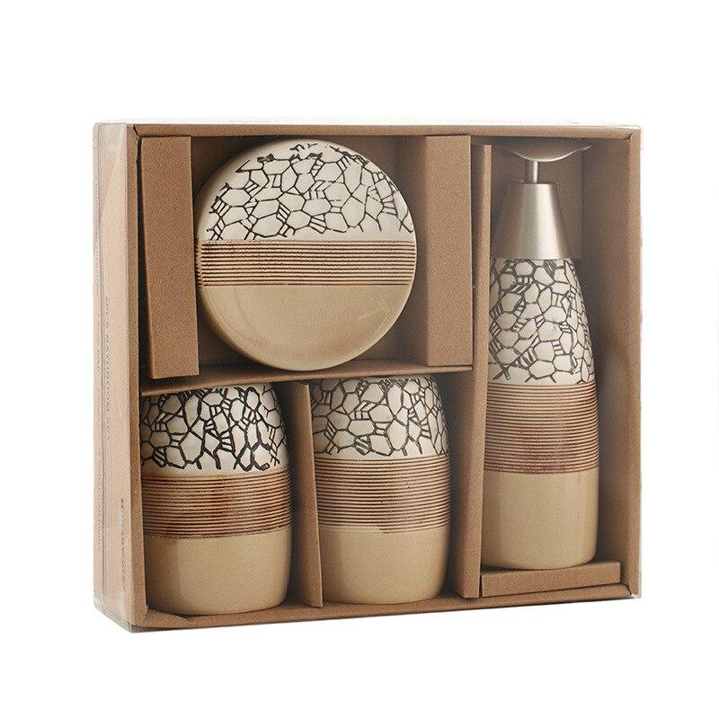 Ensemble porte-brosse à dents savon en céramique | Ensemble d'accessoires de salle de bain 4 pièces, coffret cadeau de bain, porte-brosse à dents, gobelet plat de savon, inclus, distributeur de savon 100%