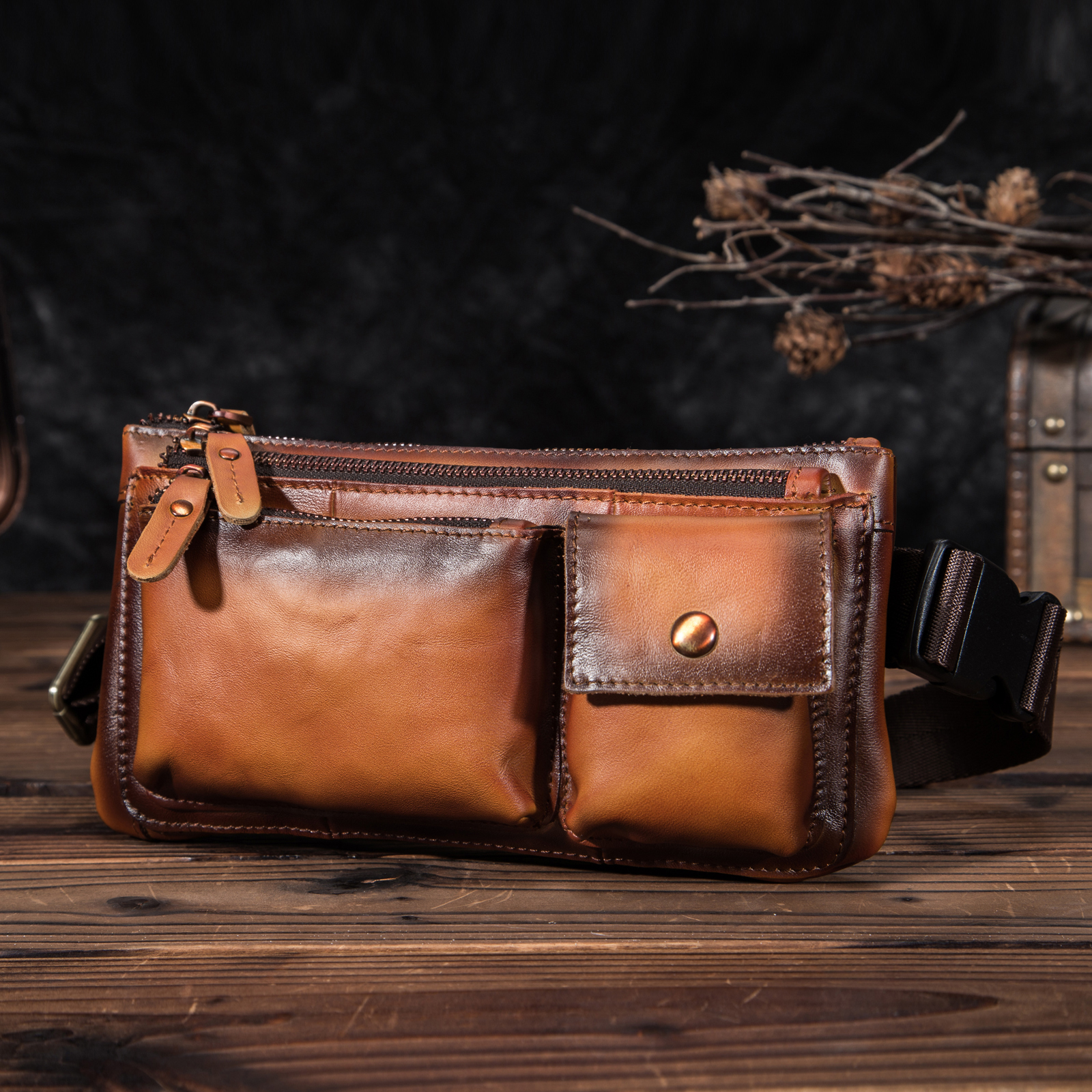 New Genuine Leather Men Casual Fashion Travel Fanny Waist Belt Chest Pack Sling Bag Design Phone Cigarette Case Male 811-29-o