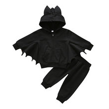 2pcs Set Bat-Wing Animals Baby Boy Clothes Halloween Children Hooded Newborn Winter Warm Long Pants Kids Outfit Black Cute(China)