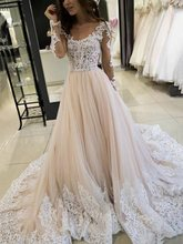 Champagne Wedding Gowns Long Sleeves Scoop Appliques Hall Dress 2019 Sheer Beads Bridal Dresses Vingate