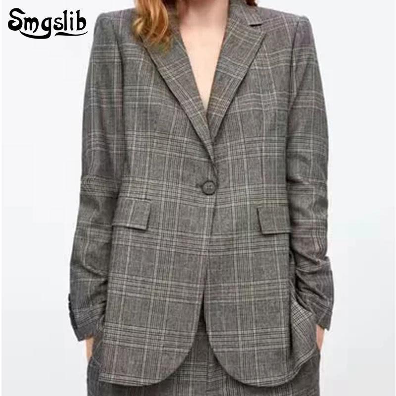 2020 Vintage Office Ladies grey plaid Blazer Long Sleeve Loose Houndstooth Suit Coat Jacket Women blazers Female pocket coat