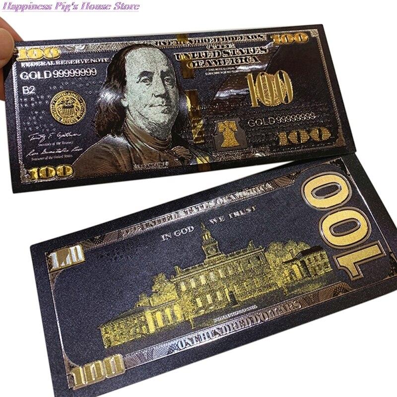 1 шт. античный черный золотой фольги USD 100 валюты памятные долларов банкноты Декор Золотые банкноты      АлиЭкспресс