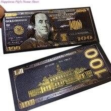 1 шт. античный черный золотой фольги USD 100 валюты памятные долларов банкноты Декор