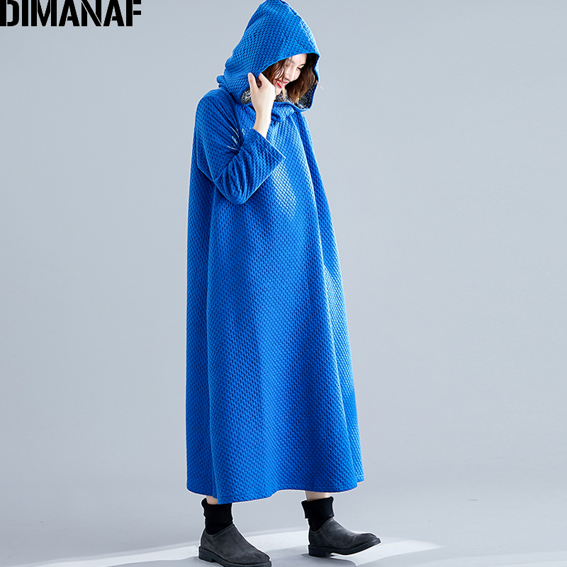 DIMANAF Women Dress Plus Size Winter Vestidos Cotton Thicken Female Elegnat Lady Long Sleeve Hooded Loose Dress Solid Casual New in Dresses from Women 39 s Clothing