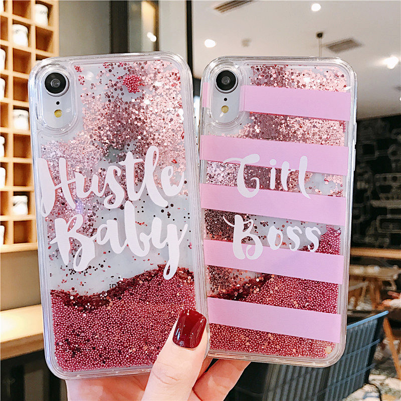 Glittering Liquid Quicksand Case for iPhone 6 6S 7 8 Plus X Cover Transparent Gold Silver For iPhone XS XR XSMAX Soft TPU Coque in Fitted Cases from Cellphones Telecommunications