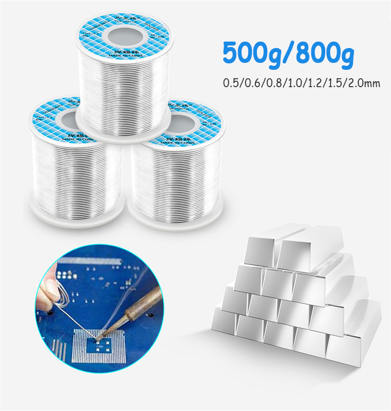 0.5/0.6/0.8/1.0/1.2/1.5/2.0MM Tin Lead 500/800g Tin Wire Melt Rosin Core Solder Soldering Wire Roll 2.2% Flux Reel Tube