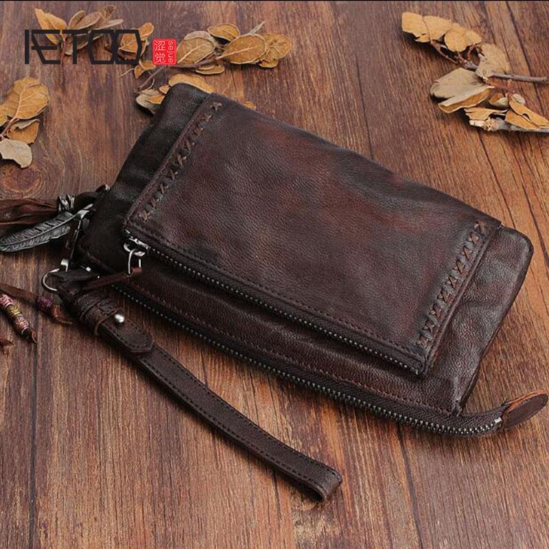 AETOO, оригинальный дизайн, ручная работа, кожаный длинный женский кошелек, первый слой из овчины, винтажный большой объем, со складками