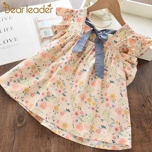 Bear Leader/Летняя Детская футболка с цветочным рисунком для маленьких девочек; Одежда; Рубашки для малышей с летящими рукавами; Футболка для дев...