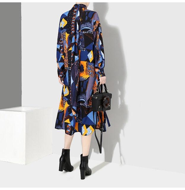 [EAM] 2019 New Autumn Winter Lapel Long Sleeve Blue Pattern Prited Loose Large Size Pocket Dress Women Fashion Tide JI485 30