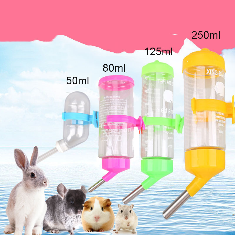 Plastic Hamster Drinker Water Bottle Dispenser Feeder Hanging Pet Dog Guinea Pig Squirrel Rabbit Drinking Head Pipe Fountain