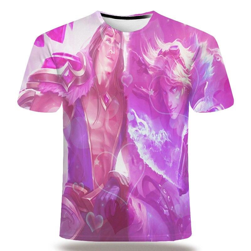 UNEY League of legends Shirt For Men US Size T-shirt 3D Creativity Spoof Print Short sleeve Purple Tops 2020 NEW Tees