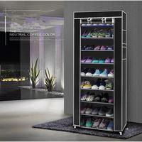 10 camadas 9 treliça tecido não tecido sapato rack à prova de poeira montagem simples sapato preto armário de armazenamento organizador de sapato em casa