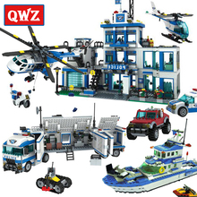 QWZ City Police Series Legoes Building Blocks Headquarters Children Educational Bricks Toys Boys Gifts