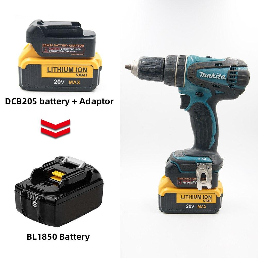 Battery Converter For Dewalt 20v 18v Battery Convert To Makita 18V BL1830 BL1850 Battery Can Use DCD205 Battery On Makita Tools