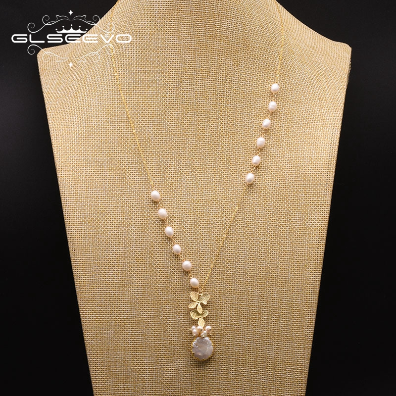 GLSEEVO Fresh Water White Pearl Pendant Necklace For Women Lovers' Fine Handmade Engagement Party Jewelry Collier Femme GN0155