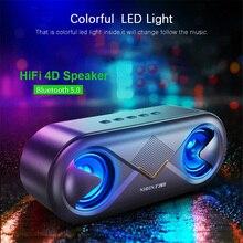 휴대용 무선 블루투스 5.0 스피커 4D 스테레오 사운드 스피커 야외 더블 스피커 지원 TF 카드/USB 드라이브/AUX