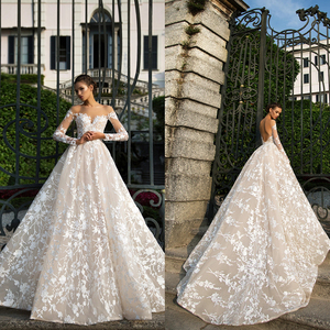 Image 4 - Long Sleeves Lace Wedding Dress 2019 Illusion Backless Princess Boho Lace Wedding Gown Plus Size Bride Dress amanda novias