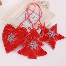 Three-color Christmas Tree Decoration Non-woven Sewing Accessories Bar window Small Gift Pendant