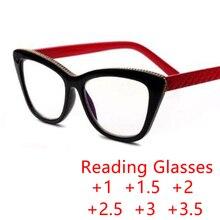 Красные ноги черная оправа Очки для чтения «кошачий глаз» пластиковые пресбиопические женские очки оправа Классические Стильные очки по рецепту