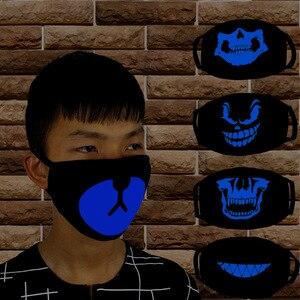 Image 2 - 1 шт. светящаяся маска для рта Пылезащитная трехслойная черная аниме хлопковая маска для детей мужчин женщин