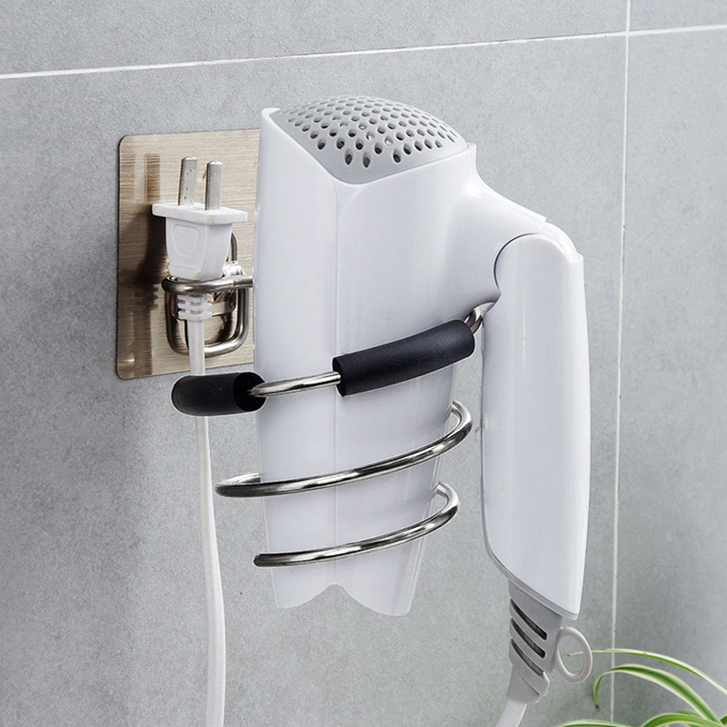 Adhesive Wall Mounted Metal Hair Dryer Holder Spiral Hairdryer Hanging Rack Blower Organizer Shelf For Bathroom Barber