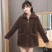 Jacket Overcoat Real-Fur-Coat Sheep-Fur Shearling Wool Natural Winter Women Outerwear