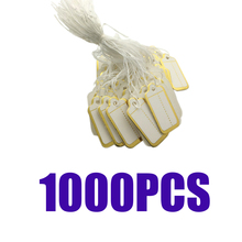 1000 Packs Premium Price Tags Marking Labels Display Hang Golden Edge with Strings, 25x15mm