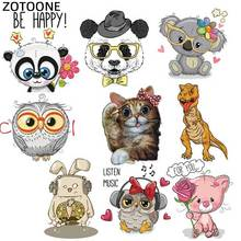 ZOTOONE DIY Christmas Thermo Stickers Applique Patch Clothes Cute Animal Cat Owl Iron on Transfers Patches for Clothing G