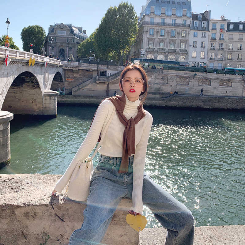 Pulóveres sólidos MISHOW suéter de cachemira tejido Otoño Invierno mujeres casual Delgado ajuste femenino mono suéteres de cuello alto MX19C5447