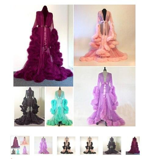 Gran oferta de Bata de noche de encaje Sexy de lujo para mujer, Kimono largo Maxi vestido de malla de manga larga, picardías de piel, ropa de dormir de fiesta, batas de noche
