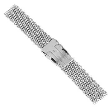 18mm 20mm 22mm Stainless Steel Mesh Watch Band Silver For Mens Wrist Watch Strap Bracelet Push Button Replacement