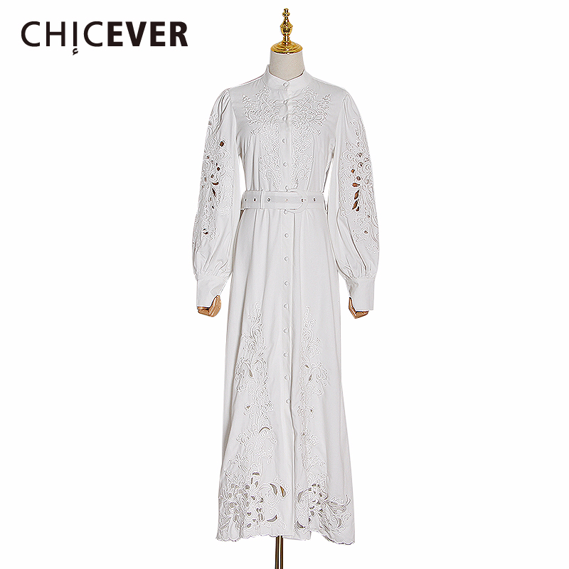 CHICEVER Casual Hollow Out Dresses For Female Stand Collar Lantern Long Sleeve High Waist Ruched Women's Dress 2020 New Clothes