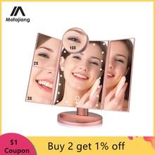 Eitelkeit Make-Up Spiegel mit 22 LEDs Licht 10X/3X/2X/1X Vergrößerungs Trifold Tisch Spiegel Touch Screen 180 grad Rotation Kosmetik