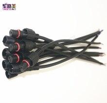 شحن مجاني 5/10/20/50 pairs ذكر إلى أنثى 2pin 3pin 4pin 5pin led موصل مقاوم للماء IP68 كابل أسود ل مصباح بشرائط LED
